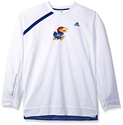Adidas Jayhawks Kansas Shorts (adidas NCAA Kansas Jayhawks Mens On Court L/S Shooting Shirton Court L/S Shooting Shirt, White, X-Large)