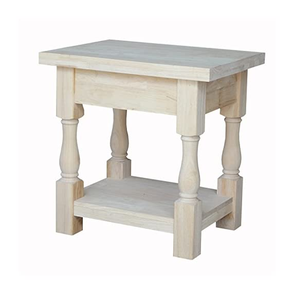 """International Concepts Tuscan End Table, 19 by 16-Inch - Made from solid parawood Features a butcher block surface Size of shelf: 19""""W x 16""""D - living-room-furniture, living-room, end-tables - 41T7Kw7jAeL. SS570  -"""