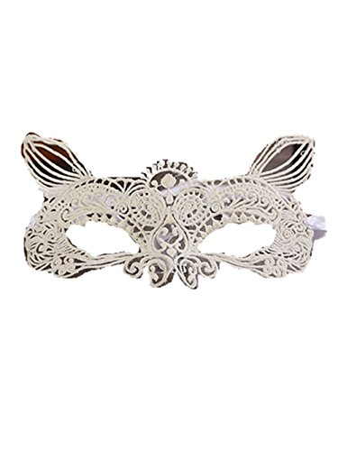 [LEERYA Halloween Masquerade Sexy Lady Black White Lace Mask hollow out Catwoman (D)] (Masquerade Mask Tattoo)
