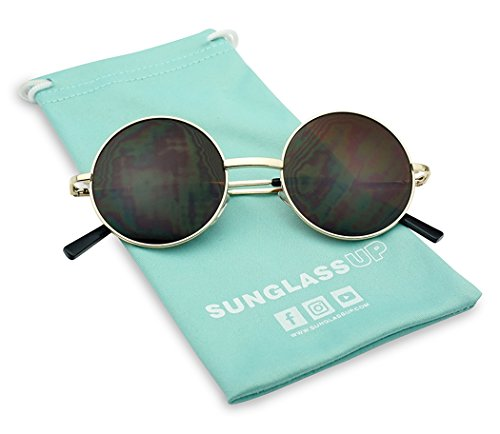 Small Round Classic 60s John Lennon Circle Metal Frame Sunglasses w/ Spring Temple Hinges (Gold, Brown)