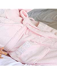 PLLP Comfortable Home Pajamas Shop Cotton with Pockets Bathrobe- Cotton Lining Collar Spring and Summer Couple Men and Women Bathrobe Adult Lengthen Pajamas Swim Suit Nightgown Men's and Women'
