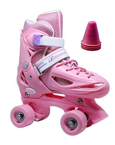 WiiSHAM Fun Roll Adjustable Canvas Roller Skates with Four Piles... (Flesh Pink, Medium)