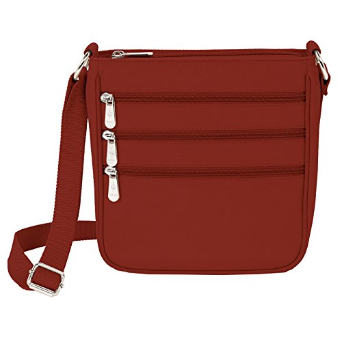 Crossbody Zip Handbag Purse Nylon Red Triple UzxqnU
