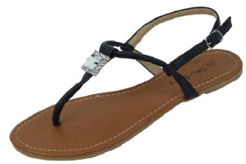 Womens T Strap Gladiator Sandals Flats Shoes W/Rhinestones (9, Black 2216)