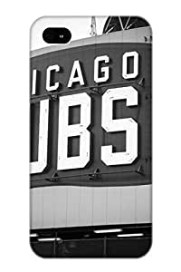 Crooningrose Perfect Tpu Case For Iphone 4/4s/ Anti-scratch Protector Case (Chicago Cubs Wrigley Field Sign Black And White Picture)