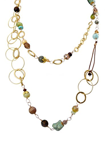 Daybreak Collection Gemstone and Czech Glass 40-Inch Wrap Necklace (Daybreak Collection)