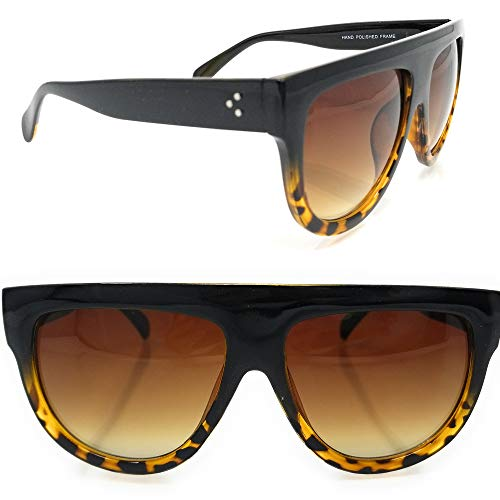 9e294ceaba2 SunMod- Large Oversize Top Flat Wide Temple Vintage Cat eye Aviator  Sunglasses 57mm UV 400 for women unisex (Black- leopard frame Brown lens)