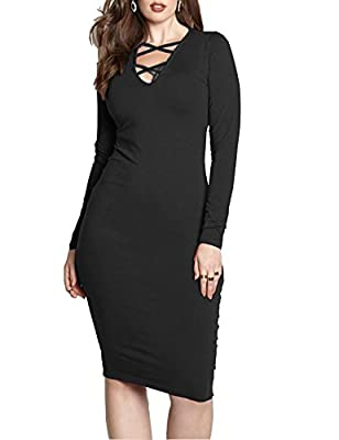 Haola Women's Plus Size Long Sleeve Bodycon Dresses Deep V Neck Cross Front Dresses