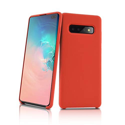 Newseego Compatible with Samsung Galaxy S10 Plus Case, Soft Liquid Silicone Case Full Shock Absorbing Ultra Slim Protective [Baby Skin Touch] with Soft Microfiber Cloth Lining Cushion Case - Red
