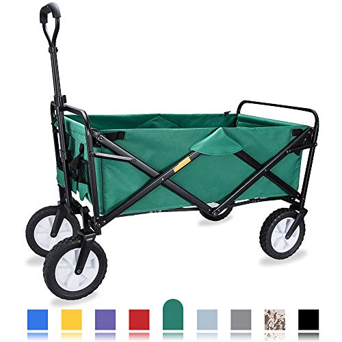WHITSUNDAY Collapsible Folding Garden Outdoor Park Utility Wagon Picnic Camping Cart with Replaceable Cover (Standard Size, - Delivery Wagon