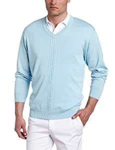 Greg Norman Collection Men's Drop Needle Textured V-Neck Sweater, Cloud, Small