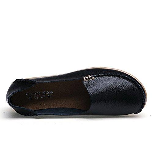 Fisca Femme Bronzant Cuir Pebbled Occasionnels Contrôleurs De Mocassins Plats Chaussures Bateau, Brun, Taille 42