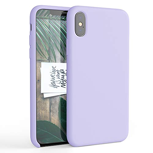 HONUA Silicone Case for iPhone X, Soft and Protective iPhone Case with Microfiber Lining, Compatible with Apple iPhone X 5.8 inch - Lavender Purple