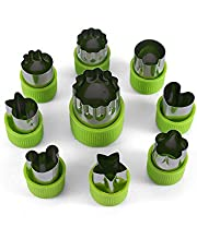 Vegetable Cutter Shapes Set,Mini Pie,Fruit and Cookie Stamps Mold,Cookie Cutter Decorative Food,for Kids Baking and Food Supplement Tools Accessories Crafts for Kitchen,Green,9 Pcs.