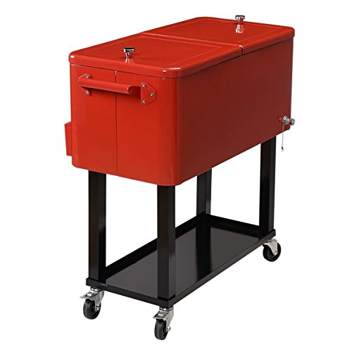 Giantex 80-quart Cooler Beer Cart Outdoor Entertaining Rolling Party Steel Bar Bistro