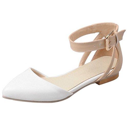 COOLCEPT Mujer Moda Correa de Tobillo Correas Sandalias Plano Cerrado Zapatos con Hebilla con Hebilla Blanco