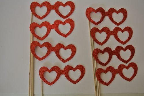 8 Pc Photo Booth Party Props Heart Glasses on a Stick Valentine Heart - Stick Glasses On A