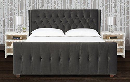 e80a3f9380 Jennifer Taylor Home, Upholstered Bed, King, Dark Charcoal Grey, Velvet,  Hand