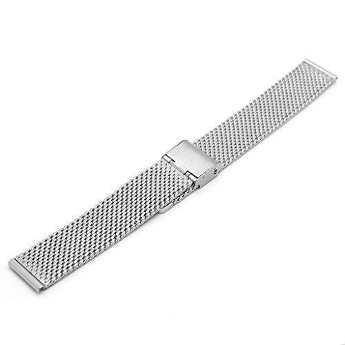 Ritche 18mm Mesh Stainless Steel Bracelet Wrist Watch Band Strap Clasp Silver