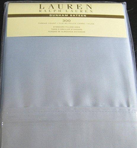 Set of 2 Ralph Lauren Dunham Sateen Standard Pillowcases Celestial Blue -300 Thread Count 100% Cotton- (Cases Lauren Ralph Pillow)