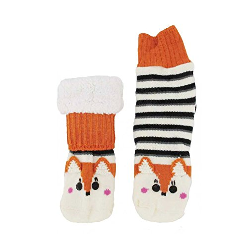 Extra Thick Fuzzy Thermal Cabin Fleece-lined Knitted Non-skid Crew Sock, Orange Fox - 1 Pair