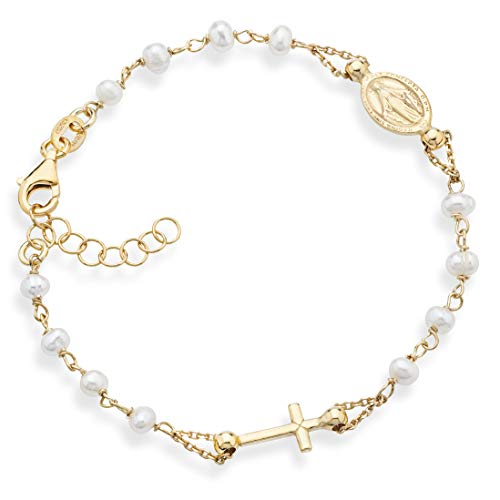 MiaBella 18K Gold Over 925 Sterling Silver Italian Rosary Cross Bead Bracelet with Natural Freshwater Pearls, Link Chain Adjustable 6 to 8 Inches Gemstone Jewelry for Women Girls (6