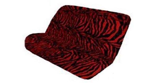 Red Zebra Stripe - Red Zebra with Black Stripes Animal Print Wild Safari Series 2PC Car Truck SUV Auto Universal-fit Back Rear Bench Seat Cover - SINGLE