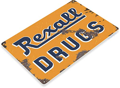 (Tinworld Tin Sign Rexall Drugs Retro Rustic Store Metal Sign Decor Cottage Cave A738)