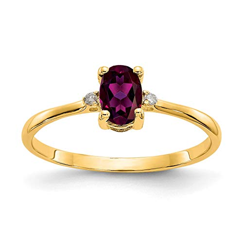 14K Yellow Gold Diamond & Oval Rhodalite Garnet June Stone Ring Size 6 ()