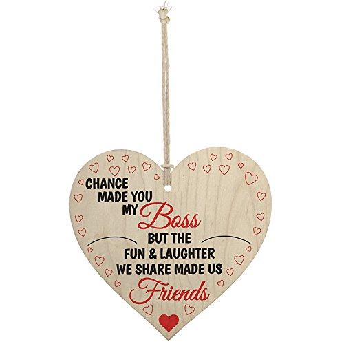 Meijiafei Boss Fun & Laughter Friends Manager Work Colleague Leaving Gift Plaque Wooden Heart Sign
