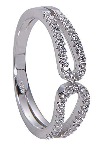 Jenna Hunter Rhodium & CZ Safety Pin Ring for Women 925 Sterling Silver Base with Cubic Zirconia Stones Ring Size 7