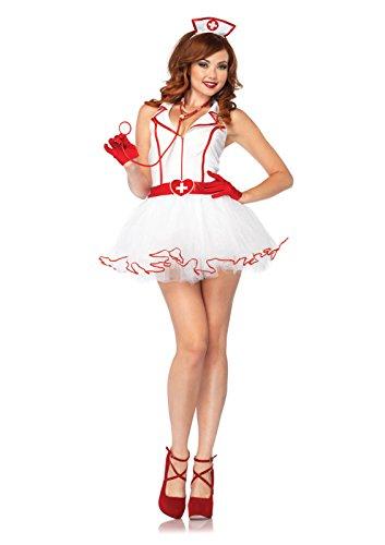 [Leg Avenue Women's 2 Piece Ravishing RN Nurse Costume, White, Medium/Large] (Nurse 2 Piece Costumes)