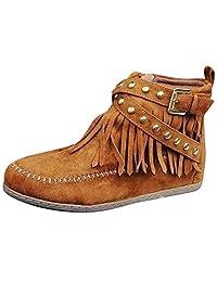 yoyoiop Women Ankle Short Boots Tassels Big Size Boots Side Zipper Rivets Bare Boots
