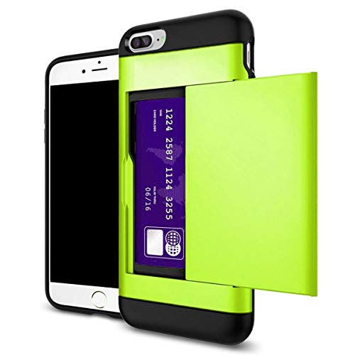 Shockproof Wallet Credit Card Pocket Holder Case Cover for iPhone Xr Xs Xs Max (Neon Green, iPhone Xr) (Green Iphone Case 4 Neon)
