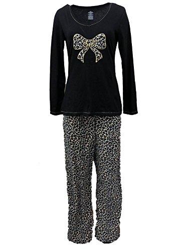 Fleece Print Pajama Set - Celestial Dreams Womens Brown & Black Leopard Print Pajamas Fleece Pajama Set L