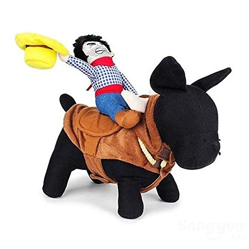 AUOKER Dog Cowboy Rider Costume, Stereoscopic Dog Outfit/Clothing/Clothes/Apparel - Easy to Wear, Not Deform, Not Fade - Funny Knight Costume for Small Medium Large Dog - L