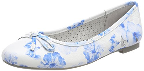 Be Natural Damen 22141 Geschlossene Ballerinas blau (Blue flower)