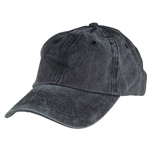 Mens Vintage Pigment Dyed Washed Cotton Cap Adjustable Hat Black and Navy Blue