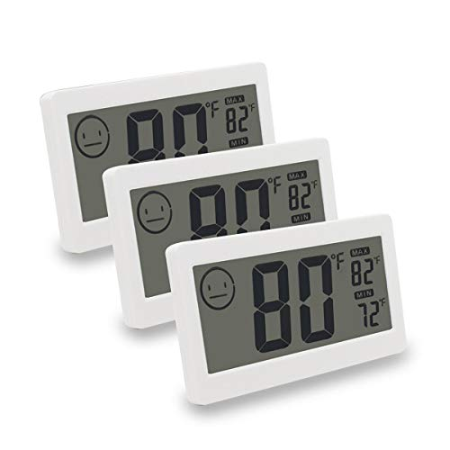 - MIKIZ Digital Thermometer Hygrometer Temperature Humidity Display 3.3 inch LCD Household Office Gym Kitchen etc (3 Pack)