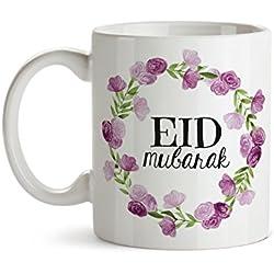 Eid Gifts- Eid Mug - Eid Mubarak - Eid Decor - Ramadan Mubarak - Ramadan Gifts - Islamic gifts - Islamic Mug - Arabic Gifts - Purple Floral Mug Design