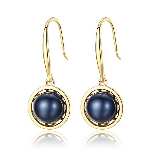 Blue Freshwater Pearl - Sterling Silver Dyed-blue Freshwater Cultured Pearl Dangle Earrings