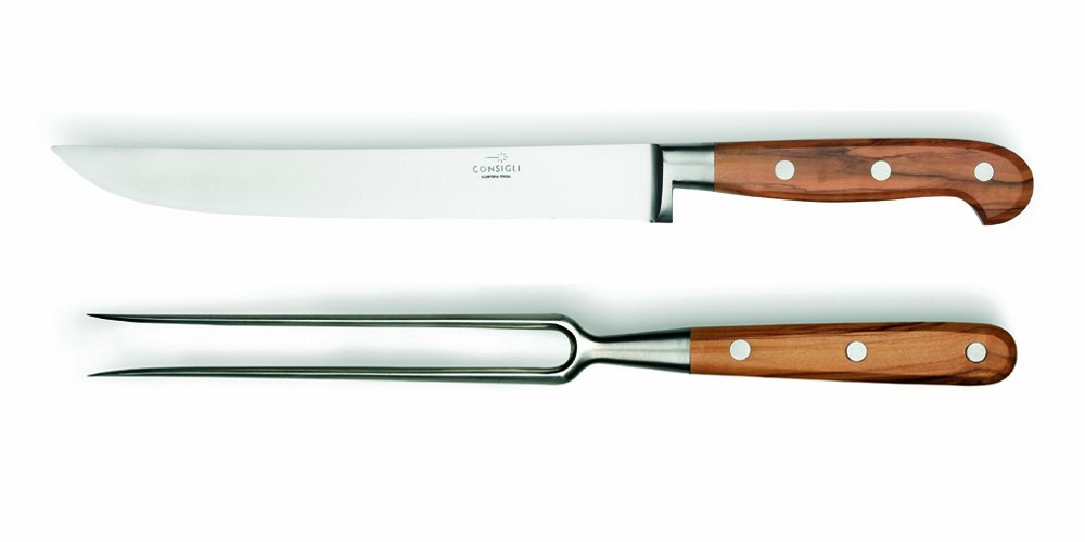 Consigli 2-Piece Olive Wood Handle Carving Knife