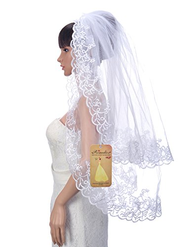 Length Embroidery Wedding Veil (Remedios 2T Tulle Fingertip Length Wedding Veil with Embroidered Hem, White)