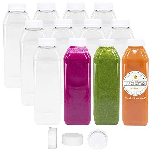 10 oz Plastic Juice Bottles Clear Empty 12 Pk Reusable Disposable Tamper Proof Lids Milk Containers ()