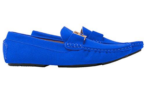 Santimon Mens Décontracté Or Boucle En Cuir Slip-on Mocassins Conduite Voiture Chaussures Mocassin Chaussures Bleu