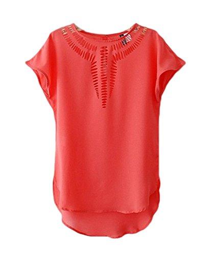 Et de Chemise Mousseline Chemisier Rouge Courte Creux Blouse Soie T Femme Chic shirt Manche Bigood w7ZFxqC1x
