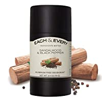 Each & Every Natural Aluminum-Free Deodorant for sensitive skin made with Essential Oils, Plant-Based Packaging, Sandalwood & Black Pepper, 2.5 Oz.