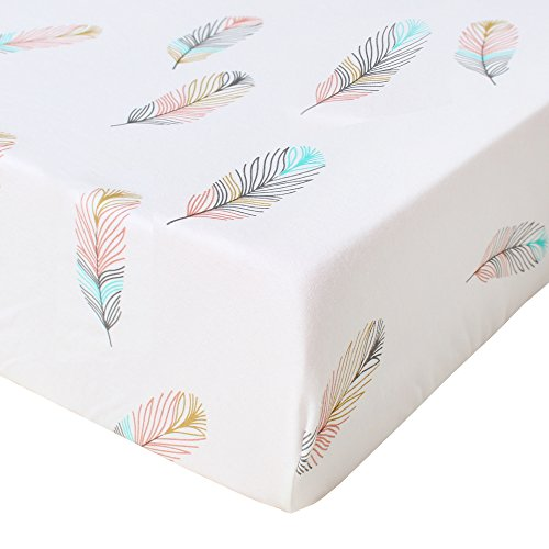 (LifeTree Fitted Crib Sheet - Feather Print Premium Cotton Toddler Bed Sheets for Baby Girl or Baby Boy - Fits Standard Crib)