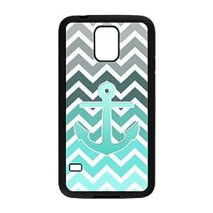 VNCASE Blue Chevron Anchor Phone Case For Samsung Galaxy S5 i9600 [Pattern-1]