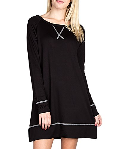 Dresses Tunic Womens Ybenlona Long Loose Mini Neck Black Sleeve Shirt Dress Swing T Scoop Striped dPZXwZfxq